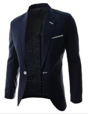 Jual Beli Baru Ringkas Pure Slim Kecil Suit Single Breasted Suit Coat Navy Blue Baru Tiongkok