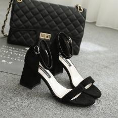 Versi Korea Baru, Tumit High Heels, Wajah Bulat, Sandal Wanita, Wanita Sepatu (hitam) -Intl