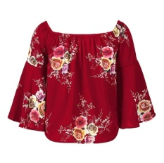 Baru Wanita Photocopy Membawa Embun Bahu Lle Loose Shirt Garment Horn-Intl