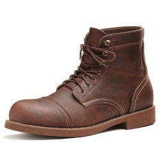 Jual The New Martin Boots Koleksi Fashion Genuin Lace Up Sepatu Kulit Untuk Pria Ankle Motor Boots Brown Intl Branded