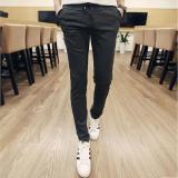 Kualitas Baru Laki Laki Katun Mode Luar Ruangan Jogging Pants Celana Korea Pelangsing Kesemek Panjang Santai Elastis Hantaman Pemuda Abu Abu Dark Oem