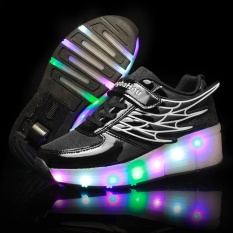 The New Roller Shoes Children Heelys Skates LED Luminous Wheel Pulley Shoe Laces Single Wheel with Light Mesh Black