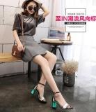 Jual Beli Baru Kasar Dengan High Heels Kata Dengan Sandal Ujung Terbuka Versi Korea Pertarungan Gadis Gadis Sepatu Intl Baru Tiongkok