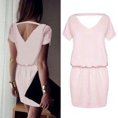 Baru Sexy Pink Halter Dress Cool Pinggang Gaun Palsu Dua Potong Ayam Heart Collar Pack Rok S-XL (Pink) -Intl