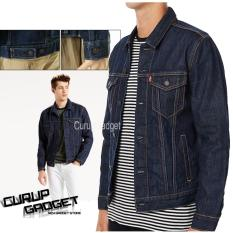 Harga The Trucker Mens Jacket Denim Material Navy Blue Fullset Murah