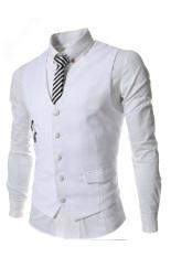 Harga Thelees Slim Double Zipper Mantel Pinggang Rompi Putih