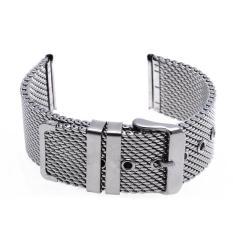Harga Termurah Tebal Mesh Steel Strap Watch Unisex 24Mm Silver