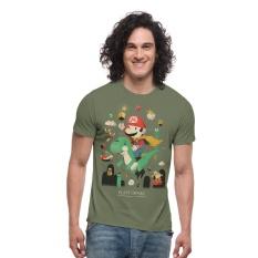 Miliki Segera Threadcurry Pria Super Mario The Green Barney Graphic Tee Motif Intl