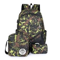 Tiga Potong USB Backpack Tas Komputer Travel Bag Shockproof Tote Bag Outdoor Sports Backpack Hiking Backpack Climbing Backpack Mountaineering Backpack Original Herschel (Hijau) -Intl