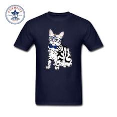 THW Mens Fashion Lengan Pendek T-shirt 2017 Fashion Summer Style Biru Bow Amerika Shorthair Cat Lucu T Shirt untuk Pria -Intl