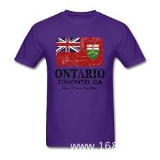 THW2 GRATIS SHIPPING2017 Fashion Lengan Pendek Kapas Organik Kanada Ontario Flag Summer T Shirt Pria Ukuran Besar T Shirt Homme -Intl