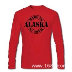 THW2 GRATIS SHIPPINGCrazy Dibuat Di Alaska T-shirt untuk Pria Menegakkan O-neck Print Lengan Panjang Cotton Retro Kaus-Intl