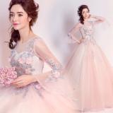 Iklan Tianshijiayi Modis Lengan Terompet Bunga Renda Baju Pelayanan Bagian Panjang Gaun Nomor 5912