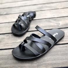 Harga Tide Merek Di Eropa Dan Amerika Kulit Hitam Klip Toe Pantai Sepatu Perdagangan Luar Negeri Laki Laki Sandal Sandal Hitam Di Tiongkok