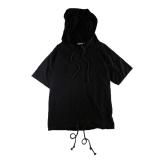 Jual Tide Merek Di Eropa Dan Amerika Laki Laki Berkerudung Longgar Lengan Pendek T Shirt Sweater Hitam Online