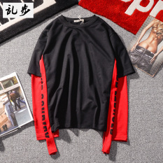 Harga Kaos Oblong Pria Lengan Panjang Pita Warna Kontras Seolah Olah Dua Potongan Gaya Eropa Amerika 646 Sweater Hitam Baju Atasan Kaos Pria Kemeja Pria Paling Murah