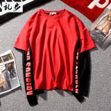 Harga Kaos Oblong Pria Lengan Panjang Pita Warna Kontras Seolah Olah Dua Potongan Gaya Eropa Amerika 646 Sweater Merah Baru Murah