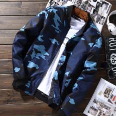 Harga Termurah Korea Fashion Style Kamuflase Baru Siswa Musim Semi Dan Musim Gugur Jaket Pria Kaos Sweater Biru Muda