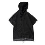 Jual Tide Merek Musim Panas Lengan Raglan Berkerudung Pullover Warna Solid Lengan Pendek T Shirt Hitam
