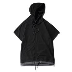 Beli Tide Merek Musim Panas Lengan Raglan Berkerudung Pullover Warna Solid Lengan Pendek T Shirt Hitam Dengan Kartu Kredit