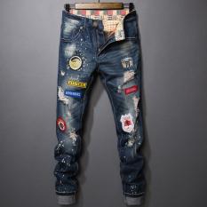 Jual Tide Merek Pria Slim Kaki Pengemis Celana Celana Jeans Sobek 778 Gambar Warna Termurah