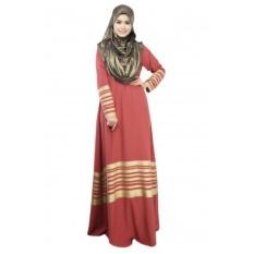 Tidepioneer Dubai Qipao Muslim Dress Adalah Lengan Panjang Emas Seal/Hui Ethnicdress/Muslim Melayu Suit Red- INTL