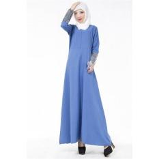 Tidepioneer Elegant Brief Muslim Long Dress For Women Summer Dress Long Sleeve(Blue)