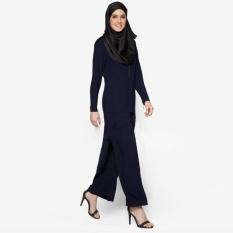Tidepioneer Women Elegant Muslim Islamic Clothing Long Sleeve Full Lengthramadan Abaya Suits Swallowtail Top&Amp;Long Pants(Navy Blue)