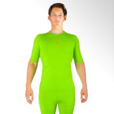 Spesifikasi Tiento Baselayer Manset Rashguard Compression Baju Kaos Ketat Olahraga Bola Renang Running Gym Fitness Yoga Short Sleeve Green Neon Gold Original Yang Bagus Dan Murah
