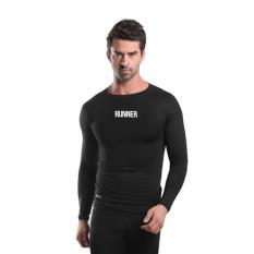 Miliki Segera Tiento Baselayer Manset Rashguard Compression Baju Kaos Ketat Olahraga Bola Renang Running Gym Fitness Yoga Long Sleeve Black Runner Original