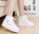 Toko Jual Sepatu Kanvas Anak Perempuan Besar Sol Tebal Pergelangan Kaki Tinggi Versi Korea Putih Setengah Yard Terlalu Kecil