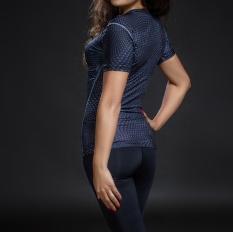 Iklan Tinggi Elastis Cepat Kering Bernapas Pelatihan Kebugaran Pakaian Ketat T Shirt Bintik Bintik Hitam Model Dasar Perempuan