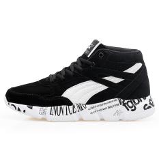 Tinggi Negara dari Anak Laki-laki Laki-laki Baru Ukuran Besar Kulit Kasual Sepatu Sepatu Sneakers (HITAM)