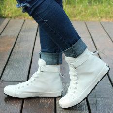 Tinggi Negara Sepatu Pria Poly Urethane Musim Semi dan Musim Panas Sepatu Kanvas Warna Putih Polos Laki-Laki (Putih)