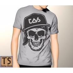 Tismy Store Kaos Skull Cap - Abu Abu