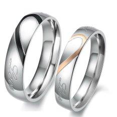 Harga Titanium Cincin Couple Love Matching Ring Silver Fullset Murah