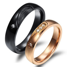 Jual Titanium Cincin Couple Love Ring Gold Feat Black Titanium Online