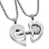 Review Titanium Kalung Couple Puzzle Love Couple Necklace Silver
