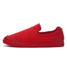 TL Pria Korea Versi Bernapas Peas Sepatu, Sepatu Kasual Kanvas, Pedal Lazy Sepatu, Carrefour Sepatu Putih Kecil Tide Sepatu (merah)-Intl