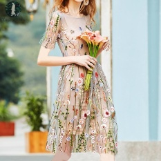 Promo Toko Today Plus Plus Size Two Piece Suit Women Summer Dress Floral Embroidery Vintage Mini Dress Mesh Patchwork Party Casual Vestidos White Intl