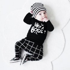 Balita Baby Boy Pakaian Huruf Cetak Lengan Panjang T-shirt Tops + Celana Set-Intl