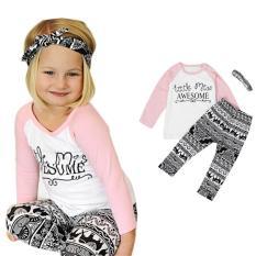 Balita Bayi Anak Gadis Pakaian T-shirt Celana Legging Headband 3 Pcs Pakaian Set-Intl