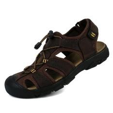 Harga Toe Melindungi Pria Sandal Kulit Asli Soft Sole Casual Sepatu Outdoor Berkualitas Sepatu Pantai Semua Cocok Ukuran Besar Dark Brown Intl Fullset Murah