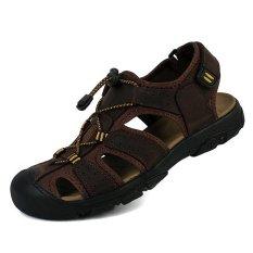 Harga Hemat Toe Melindungi Pria Sandal Kulit Asli Soft Sole Casual Sepatu Outdoor Berkualitas Sepatu Pantai Semua Cocok Ukuran Besar Dark Brown Intl