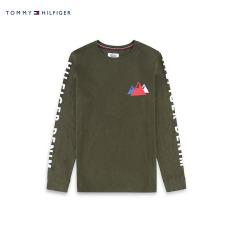 Tommy Jeans-Dm0dm03073nw Karakter Katun Leher Bulat Lengan Panjang Kaos (Hijau Gelap 376)