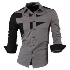 Top Quality Mens Slim Fit Unique Neckline Stylish Dress Long Sleeve Casual Shirt Gray Size XL/US M - Intl