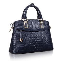 Jual Beli Top Quality Women S Tangan Kulit Sapi Casing Mewah Genuine Leather Crocodile Pattern Shoulder Bag Cross Body Bag Dark Blue Tiongkok