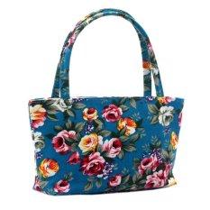 Tingkat Teratas Chic Wanita Tote Bags Ladies Messenger Tas Tas Bahu Gaya Korea Chinese Rose Pola Kanvas Portable Kosmetik Top-Handle Bag (Biru) (warna: Sebagai Gambar Pertama)-Intl