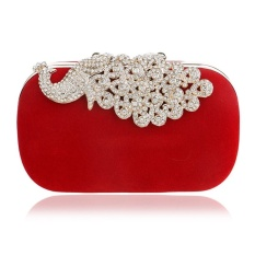 Jual Tingkat Teratas Fashion Wanita Bahu Tangan Casing Wanita Luxury Suede Shell Dompet Perjamuan Rhinestone Peacock Velvet Party Clutch Evening Bag Merah Intl Online