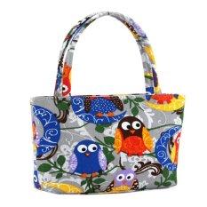 Tingkat Teratas Baru Kedatangan Wanita Tote Bags Ladies Messenger Tas Tas Bahu Gaya Korea Colorful Owl Pola Kanvas Portable Kosmetik Top-Handle Bag (Grey) (warna: Sebagai Gambar Pertama)-Intl